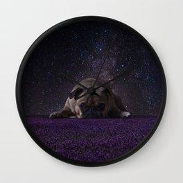 Flower Field Pug Wall Clock