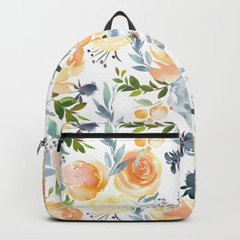 Blush gray orange watercolor hand painted floral Backpack