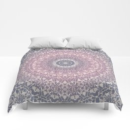 gray pink mandala Comforters