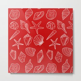 Red and white seashells pattern Metal Print