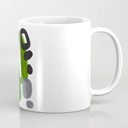 Mid Century Vintage 70's Design Abstract Minimalist Colorful Pop Art Olive Green Dark Green Grey Coffee Mug
