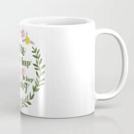 You gotta keep going to keep growing quote in floral wreath watercolor Coffee Mug