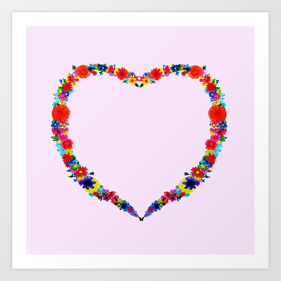 heart made of flowers on a pink background Art Print