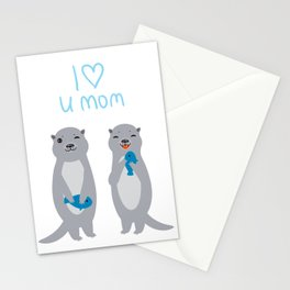 I Love You Mom. Funny grey kids otters with fish. Gift card for Mothers Day. Stationery Cards