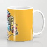 computer Mugs featuring 8bit computer by Sergey Kostik