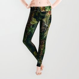 fern and plant decorate on wall Leggings