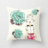 boba Throw Pillows featuring Boba by causemepain