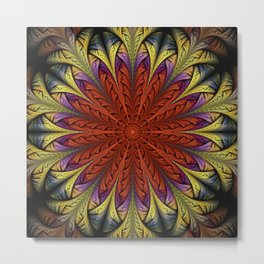 Fractal feathers in orange, gold / yellow and purple Metal Print