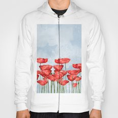Poppyfield poppies poppy blue sky- watercolor artwork Hoody