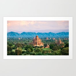 Temple glows in the fields of Bagan Fine Art Print Art Print