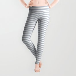 Pale Blue Grey and White Horizontal Stripes Leggings