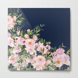 Boho, Floral Watercolor, Roses, Navy Blue and Pink Metal Print