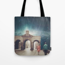 We met as Time Travellers Tote Bag