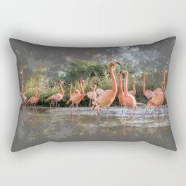 Flamingos on the lake Rectangular Pillow