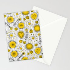 Whimsical flowers in yellow Stationery Cards