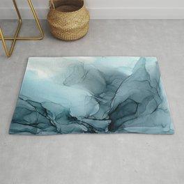 Blue Ocean Fog Calming Abstract Rug