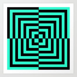 GRAPHIC GRID DIZZY SWIRL ABSTRACT DESIGN (BLACK AND GREEN AQUA) SERIES 5 OF 6 Art Print