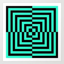 GRAPHIC GRID DIZZY SWIRL ABSTRACT DESIGN (BLACK AND GREEN AQUA) SERIES 5 OF 6 Art Print