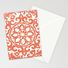 Art Deco Flower Coral Stationery Cards