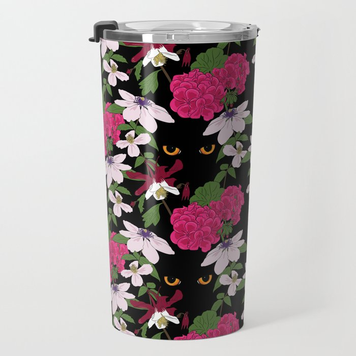 Cat in the flowers Travel Mug