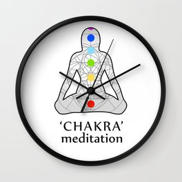 Woman in meditation with the seven chakras and its respective colors Wall Clock