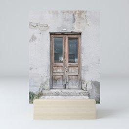 Old brown wooden door   Travel photography in Armenia    Still life Mini Art Print