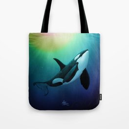 """""""The Dreamer Ascends"""" by artist Amber Marine ~ (Copyright 2015) ~ Orca / Killer Whale Art Tote Bag"""