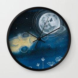 Moon Series #5 Watercolor + Ink Painting Wall Clock