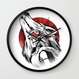 The girl and the wolf Wall Clock