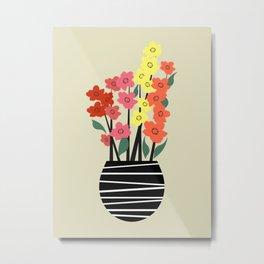 Colorful flowers in vase Metal Print