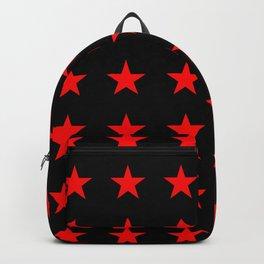Red Stars on Black Backpack