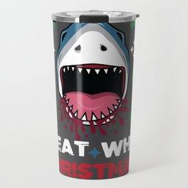 White Christmas Shark Ugly Cardigan Gift Travel Mug