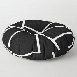 Black and White Fragments - Geometric Design II Floor Pillow