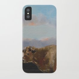 cow thinking about grass iPhone Case
