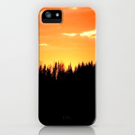Black Forest Silhouette In Orange Sunset #decor #society6 iPhone Case