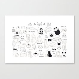 Cute Cat Doodles Cats Black and White Canvas Print