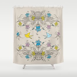 Shabby Chic vintage lily flowers bouquet and birds 2 Shower Curtain