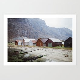 Little boathouses at fjord - Norway Art Print