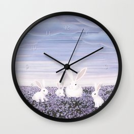 white rabbits and purple flowers Wall Clock