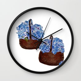 Two Baskets of Hydrangea Love Wall Clock