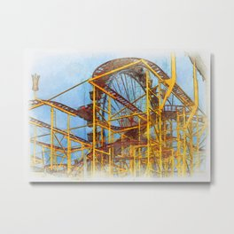 Munich Beer Festival - Roller Coaster & Ferris Wheel Metal Print