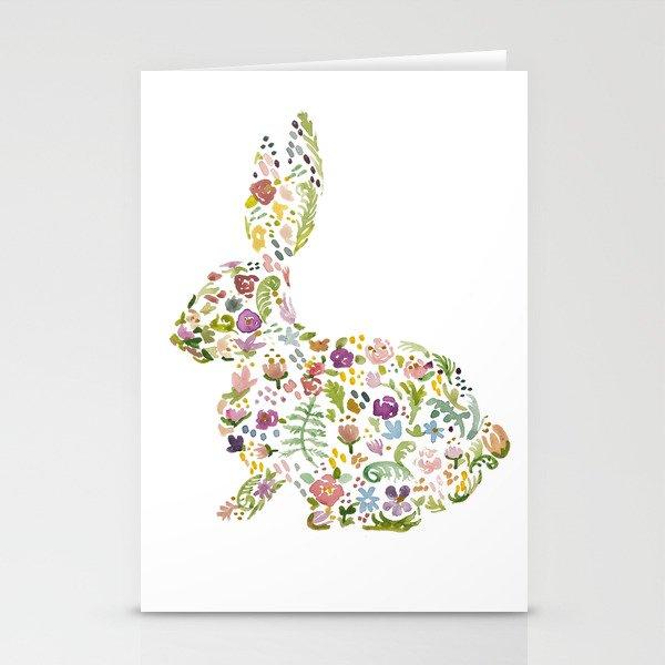Springtime Flower Bunny Stationery Cards