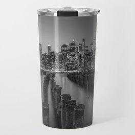 Brooklyn Waterfront in Black and White Travel Mug