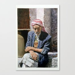 art oil painting ,yemeni old man sitting and thinking middel east man Canvas Print