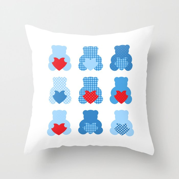 Cute blue Love teddies Throw Pillow