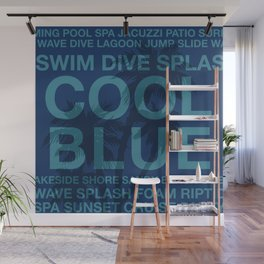 Summer Words Poolside and Palm Tree Hawaiian Graphic Design Wall Mural