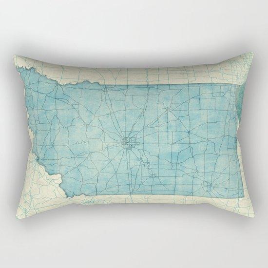 Indiana State Map Blue Vintage Rectangular Pillow