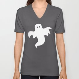 Spooky White Halloween Ghost Unisex V-Neck