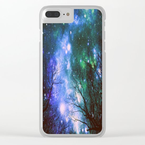 Black Trees Violet Green Space Clear iPhone Case