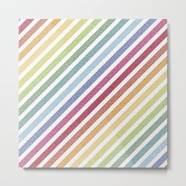 Stripes rainBow Pixels Metal Print